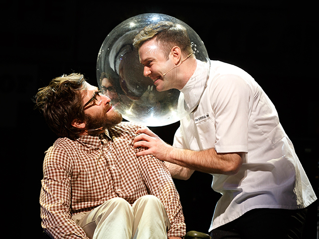 Jake Gyllenhaal and Taran Killam in Little Shop of Horrors; photo by Joan Marcus