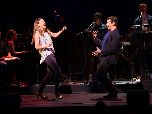 Sutton Foster and Jonathan Groff in the Off-Center Jamboree; photo by Joan Marcus